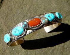 Coral turquesa y plata puño americano nativo Roscoe por TeeceTorre