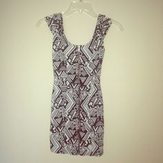 H&M Tribal Print Zip Front Mini Dress