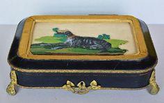 Antique French Beaded Needlepoint Greyhound Dog Box | eBay