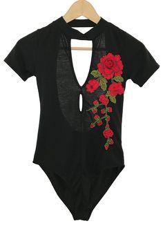rose cut out bodysuit