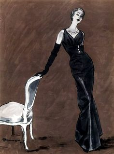 Evening gown by Jacques Fath illustrated by Pierre Mourgue, 1953