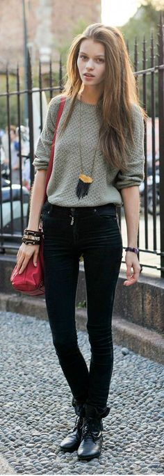 dfce43f38be This girl is too skinny. but nice simple colours that work well togther.  Black skinny jeans