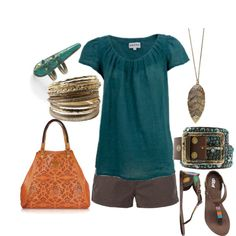 I like everything but the shorts... maybe cargo capris or pants instead... (and a Thirty-One bag)