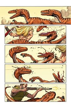 Shanna, The She-Devil (of It's eye-popping action from cover-to-cover as Shanna stumbles into the middle of a mass migration of razor-toothed raptors, each of which would love to make her an afternoon snack, and has to slice her way to freedom! Comic Books Art, Comic Art, Monster Games, Frank Cho, Graphic Novel Art, Dinosaur Art, Popular Artists, Manga Comics, Marvel Comics