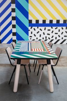 Camille Walala customised a PBS Table for Koskela as part of her exhibition. A seriously rad table, especially when paired with Koskela's Jake Chairs!