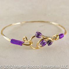 Guitar string bangle bracelet purple wire wrap hook clasp. GSB11   MartieRocco - Jewelry on ArtFire