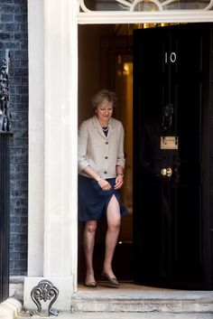 Theresa May shows rather a lot of leg for talks with Donald Tusk in Downing Street