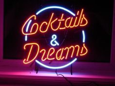 "COCKTAILS AND DREAMS LIGHT SIGN REAL NEON GLASS BEER BAR PUB SIGN17""x14"""