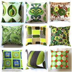 Cushion Covers – green retro pillow cover - mix and match 5 – a unique product by dalinda on DaWanda