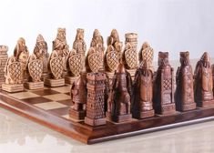 House of Hauteville Chess Set and Board Combo - Antique White and Brown Marble - Chess Set - Chess-House Dragon Chess, Battle Chess, Wood Chess Board, Wood Crafts, Diy And Crafts, Marble House, Wood Router, Wood Lathe, Cnc Router