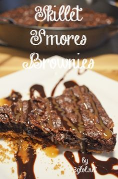 Skillet S'mores Brownies.  Made with a graham cracker crust, boxed brownie mix with added marshmallows.  #brownies #smores #delishdessert www.3glol.net