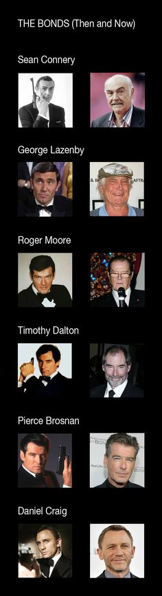 All the men who played James Bond.Then & Now: Sean Connery, George Lazenby, Roger Moore, Timothy Dalton, Pierce Brosnan & Daniel Craig Films Cinema, Cinema Tv, Pierce Brosnan, I Movie, Movie Stars, Actors Then And Now, Tv Star, George Lazenby, Harry Potter Actors