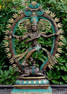 Shiva Nataraja - Lord of the Dance Sculpture Hindu Art statue hand cast from bronze with a beautiful applied green patina in Bali by skilled master craftsmen Bronze Sculpture, Sculpture Art, Garden Sculptures, Shiva Statue, Nataraja, Lost Wax Casting, It Cast, Hand Cast, Hindu Art