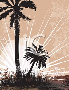 iCLIPART - Clip Art Image of Silhouetted Palm Trees on a Beach