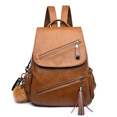 Bagail Women Travel Leisure PU Leather Backpack Cartoon Tassel Solid Bags