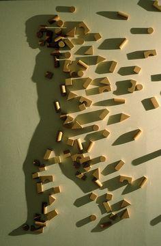 Dans cette oeuvre, un artiste à placer des morceaux de bois afin que lorsqu'on projette de la lumière sur l'oeuvre, les morceaux forment l'ombre d'une forme humaine. J'ai ressenti de l'émerveillement en voyant la créativité de cette oeuvre.