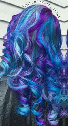 Blue purple dyed hair hair colors в 2019 г. Bright Hair Colors, Hair Dye Colors, Colorful Hair, Wild Hair Colors, Mermaid Hair Colors, Rainbow Hair Colors, Vivid Hair Color, Unique Hairstyles, Pretty Hairstyles