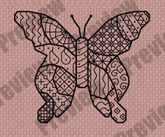 My frees | Lindashee - click on picture for free pattern blackwork butterfly cross stitch