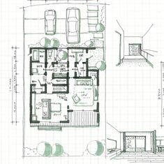 mioさんはInstagramを利用しています:「✳︎ 玄関入ってすぐに窓から緑が見えるプラン。 ✳︎ 土間収納から洗面所、脱衣室にいける動線があります。 洗面台うしろは収納になっていて、コートなどが掛けられます。 裏動線とリビングへのメイン動線を分けています。 ✳︎ ✳︎ ✳︎…」 Japanese House, House Plans, Floor Plans, Photo And Video, How To Plan, Architecture, Instagram, Home, Design