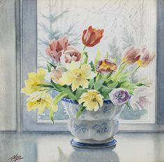 Tulips, watercolour on paper, by Grand Duchess Olga Alexandrovna (Russian, 1882-1960). Provenance: Prince Vladimir Galitzine's Gallery