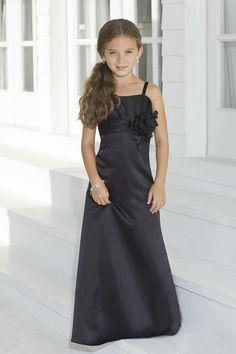 Spaghetti Straps Black Flower Girl Dresses 2013