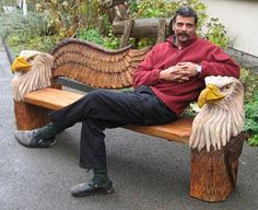 chainsaw carving by bob king wolf bench perfect garden. Black Bedroom Furniture Sets. Home Design Ideas