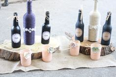 Twine Wrapped Wine Bottles with Lace Accent by CraftMastersAnJ, $12.00