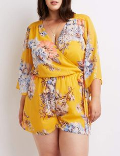 Charlotte Russe Plus Size Floral Wrap Romper Look Plus Size, Plus Size Jeans, Trendy Plus Size, Plus Size Party Dresses, Plus Size Outfits, Plus Size Sommer, Plus Size Womens Clothing, Clothes For Women, Size Clothing