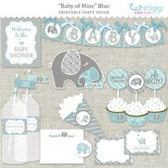 Elephant Boy Baby Shower DIY Printable PDF by whirligigspartyco