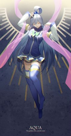 I'm a member of Eris church but definitely this looks amazing. If Aqua will just act as a goddess that would be so awesome. Konosuba Anime, Chica Anime Manga, Anime Comics, Anime Art, Konosuba Wallpaper, Aqua Konosuba, Kawaii Anime Girl, Animes Wallpapers, Me Me Me Anime