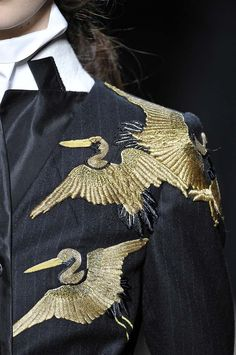 Dries Van Noten embroidered birds in gold Combining western pinstripe and eastern pattern and technique