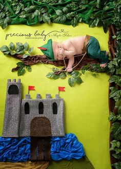 Newborn baby boy in tree with castle. Baby ImaginArt by Angela Forker. Precious Baby Photography, Fort Wayne, Indiana. www.preciousbabyphotography.com scene