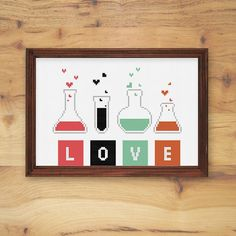 Chemistry of Love free cross stitch pattern from doityourfamily.com