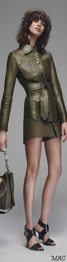 Fendi ~ Resort Olive Green Leather Dress,  2016