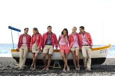 Khaki and Coral but could be Kahaki and Purple. Photo Shoot before wedding/with wedding party in the colors you chose . Preppy Look, Preppy Style, My Style, Preppy Southern, Southern Drawl, Southern Gentleman, Southern Belle, Southern Prep, Metallic Scarves