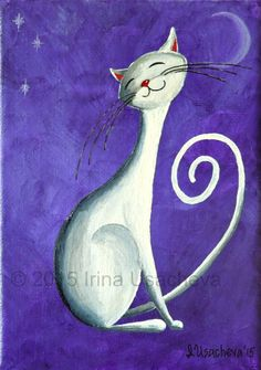 Original Painting for Sale : Fantasy Cat White by NaturelandsAndCo