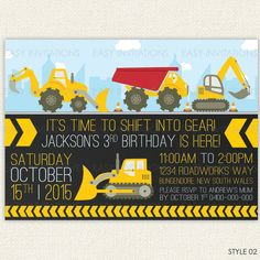 Construction Truck Digger Birthday Invitation by EasyInvites