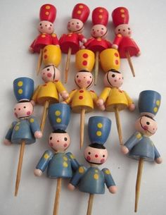 colorful - vintage wood soldiers cake candle holders - 1940's