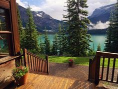 A view from the Emerald Lake Lodge entrance. Yoho National Park, British Columbia, Canada