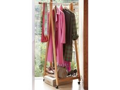 This fabulous Extendable Wheeled Garment Rack is the ideal clothes #storage #solution for a small space. With gorgeous rich wood tones and a sturdy extendable aluminium hanging rail, it features a slatted base for additional storage. So whether you are creating clothes storage for guests or need extra storage space in the #bedroom, this clothes rail is the perfect solution.