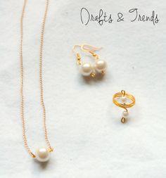 Colar, brincos e anel DIY feito à mão. Original Drafts & Trends. Para mais peças visitem a nossa página: facebook.com/draftsandtrends