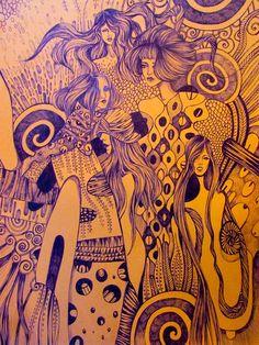 """""""Klimt doodling""""  Fashion doodling sketch inspired by Klimt #fashiondoodling #doodlingsketch #doodlingart #Klimtinspiration"""