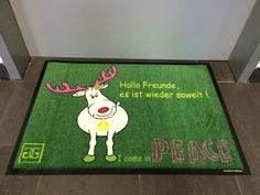 Peace-Fußmatte mit Rentier.