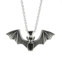 W Hamond Necklace Whitby Jet And Silver Oval Belly Bat #whamond #necklaces