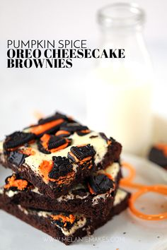These Pumpkin Spice Oreo Cheesecake Browniesare adecadent chocolate treat with the warmth of autumn spices. The brownie batter is spiked with pumpkin spice extract before being dolloped with cheesecake filling and sprinkled with crumbled Oreos. So easy and so delicious!