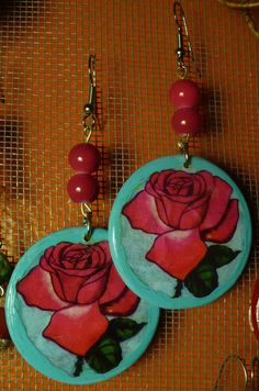 Items similar to La Rosa Earrings on Etsy Clay Jewelry, Jewelry Crafts, Beaded Jewelry, Jewellery, Loteria Cards, Mexican Crafts, Mexican Party, Family Business, Boho Earrings