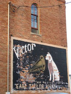 Victor and Nipper ghost sign-Buda,IL by David Sebben (over 3/4 of a million views and stil, via Flickr