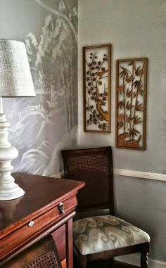 This Elegant Golden Pair Of Vintage Asian Wall Hangings Will Decorate Your Hollywood Regency Home With