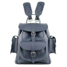 Colour: Navy-Dark Blue100% LeatherTwo adjustable shoulder strapsOne Front PocketTwo Side PocketsMade in England