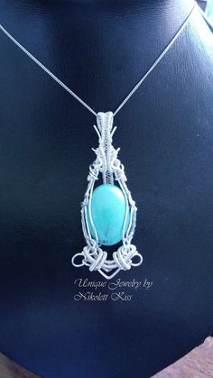 Wire Wrapped Turquoise Pendant by NikolettKiss on DeviantArt Turquoise Pendant, Copper Wire, Wire Jewelry, Wire Wrapping, Glass Beads, Pendant Necklace, Deviantart, Pearls, Stone